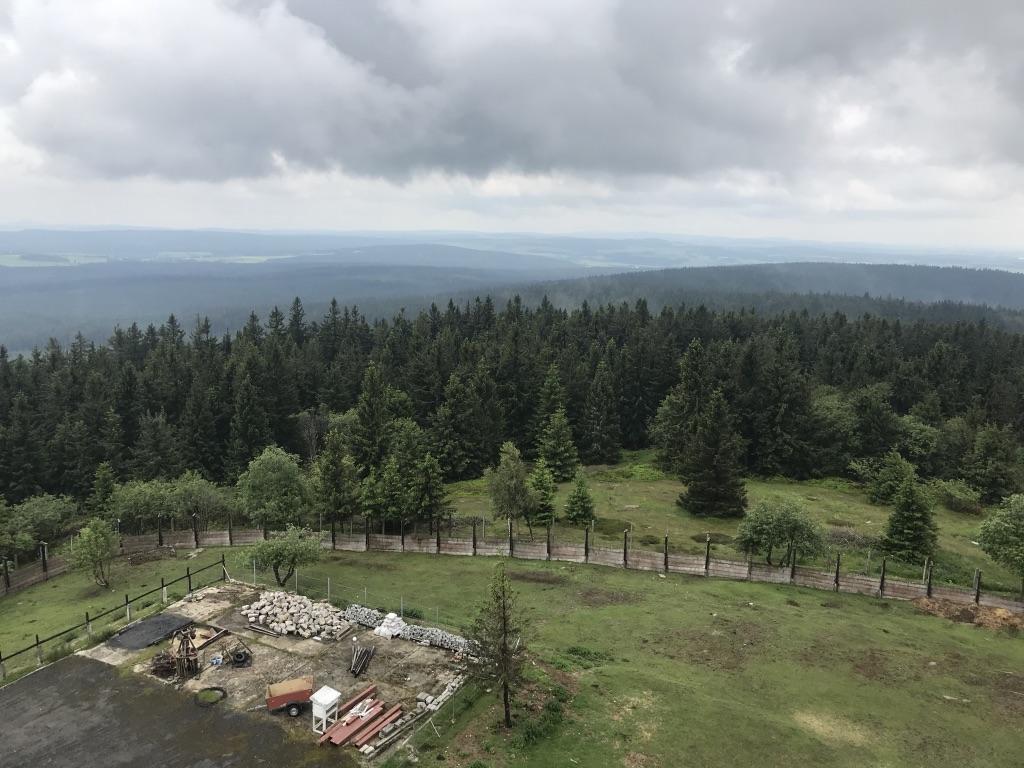 Vom Sendemast des Dylen: Aussicht auf den Oberpfälzer Wald